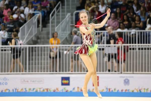 Angelica Kvieczynski durante apresentação individual classificatória.Coliseu de Toronto. Jogos Pan Americanos de Toronto, Canadá. 18/07/2015. Foto: Saulo Cruz/Exemplus/COB