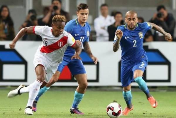 Brasil e Peru fizeram um jogo bem equilibrado em Lima.Foto: Ernesto Arias/Agência Lusa