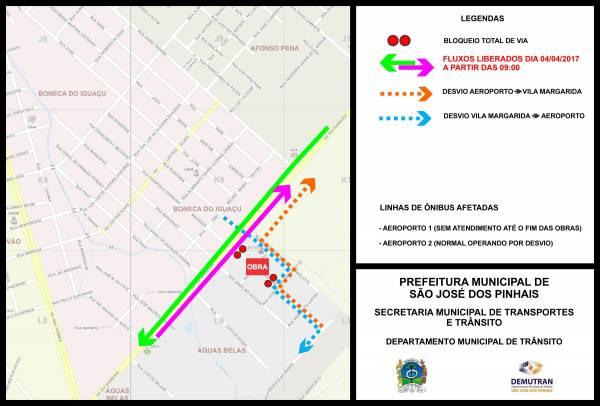Mapa do Demutran informa trânsito na região do bairro Águas Belas a partir de 4/4