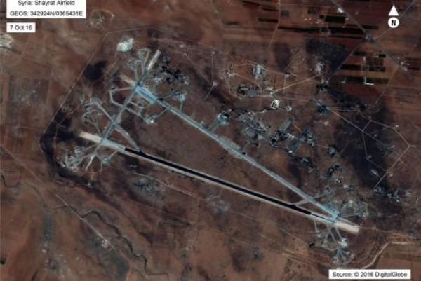 Foto divulgada pelo Departamento de Defesa dos Estados Unidos mostra base aérea de al-Shayrat, próximo a Homs, na Síria, que foi alvo de mísseis norte-americanosImagem de Divulgação/Dpt° de Defesa dos EUA
