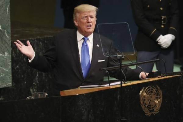 O presidente dos Estados Unidos, Donald Trump, discursa na Assembleia Geral das Nações Unidas Andrew Golbert/EPA/Agência EFE/Direitos reservados