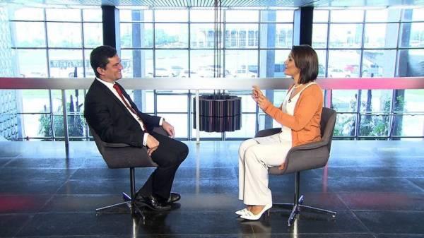 Ministro da Justiça, Sergio Moro, concede entrevista a Roseann Kennedy, na estreia do programa Impressões, na TV Brasil - Divulgação/TV Brasil