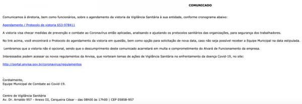 Mensagem do e-mail que tentar marcar uma falsa visita. Imagem: Prefeitura Municipal de São José dos Pinhais