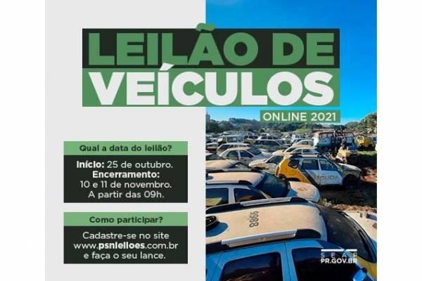 Leilão de veículos e sucatas oferta mais de 320 itens e vai até 11 de novembro.